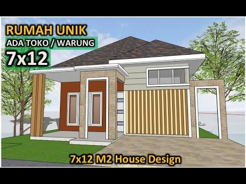 desain rumah 7x12 minimalis ada toko / warung - 2 lantai