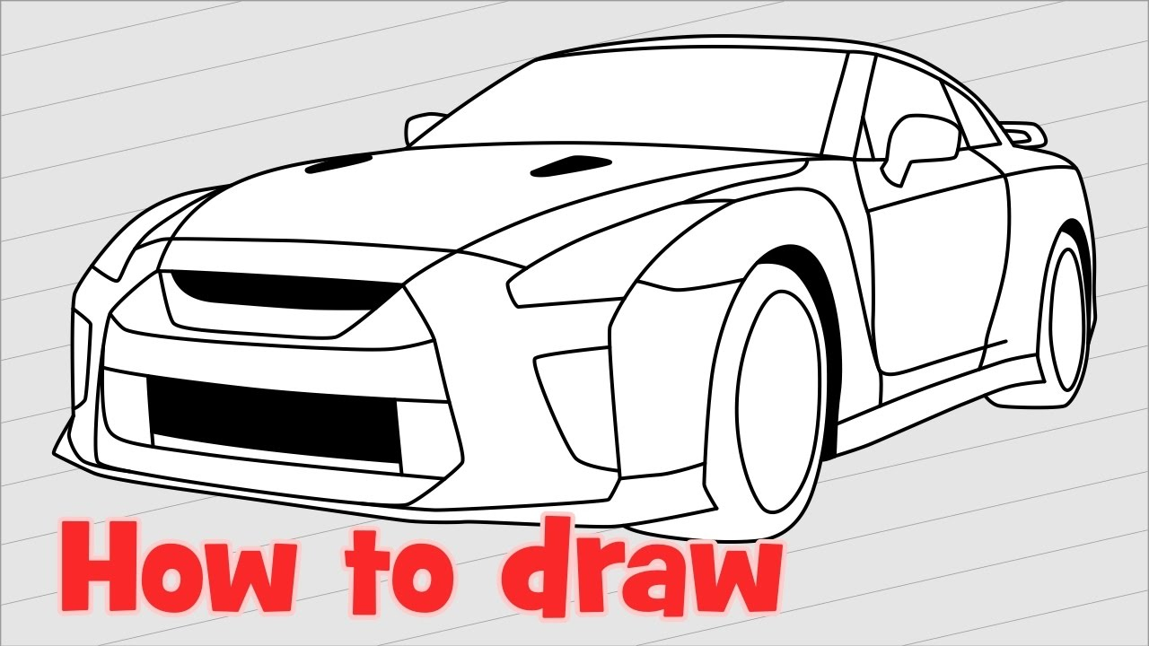 Easy To Draw Nissan Gtr >> How to draw a car Nissan GT-R NISMO 2017 quick 🚗 - YouTube