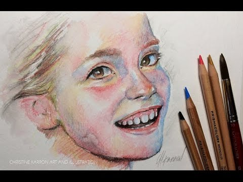 Watercolor pencil sketch drawing portrait demo by ch karron