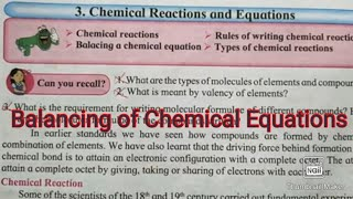 How to balance chemical equations Science 1 Chemical equations 9th & 10th Class std 9 &10 in Hindi