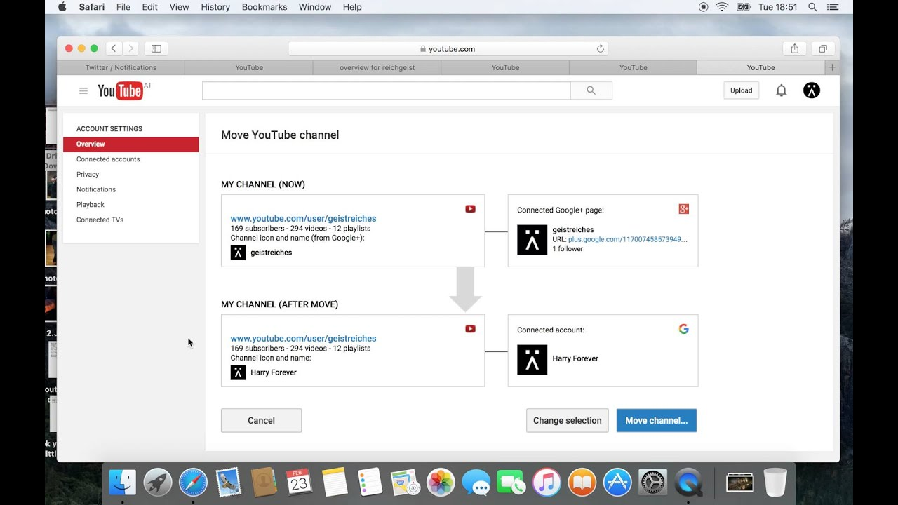 how to change youtube account name