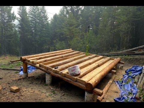 Off Grid Log Cabin Build Floor Construction Youtube