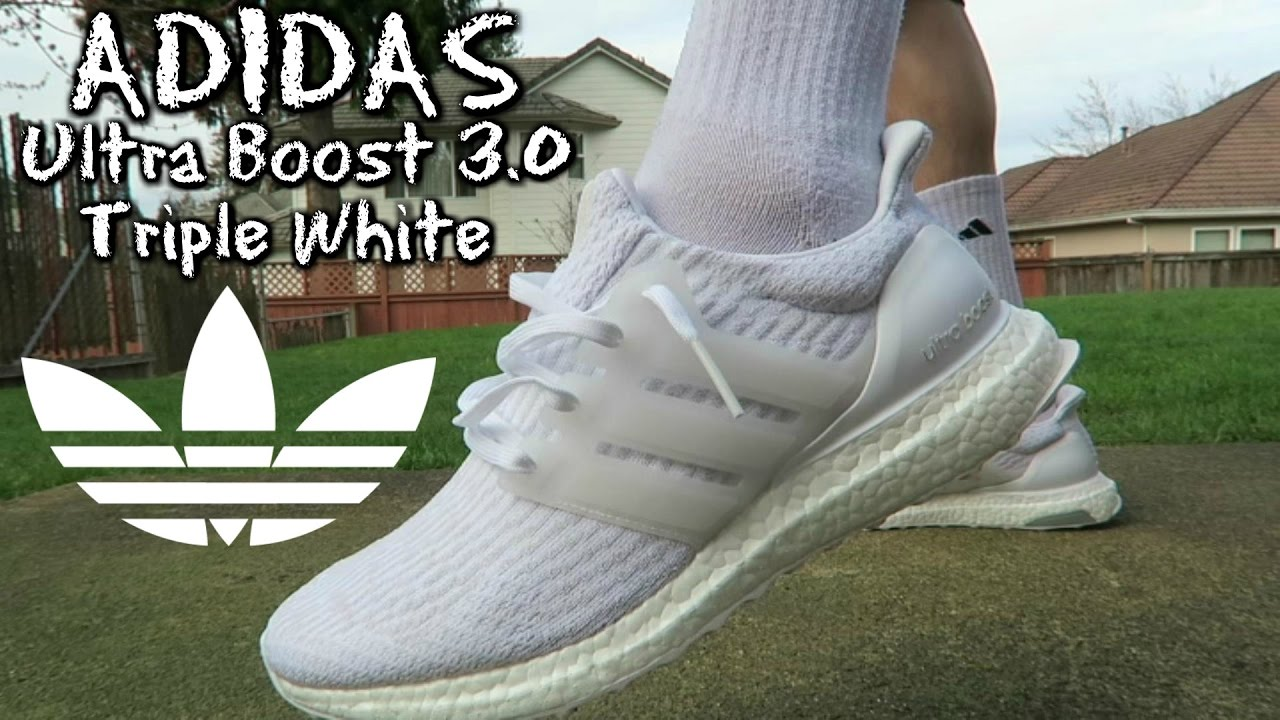 a1cf4fb3edae6 Adidas Ultra Boost 3.0 Triple White REVIEW   ON FEET - YouTube