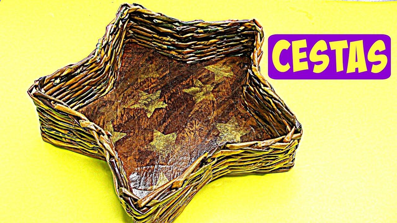 C mo hacer cestas de papel peri dico newspaper baskets youtube - Hacer cestas con papel de periodico ...