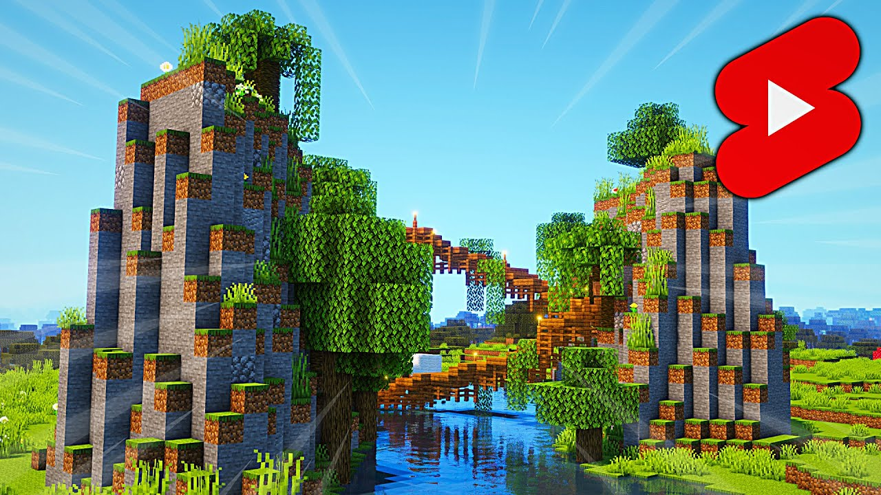 Minecraft Mountain Bridge: Timelapse