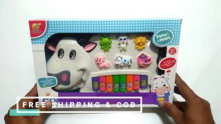 Musical White Cow Piano With Flashing Lights & Wonderful Music For Kids
