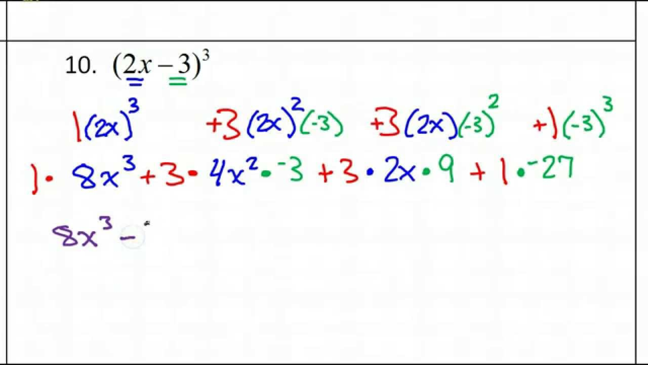 Day 3 Hw 10 Binomial Expansion Using Pascal S Triangle