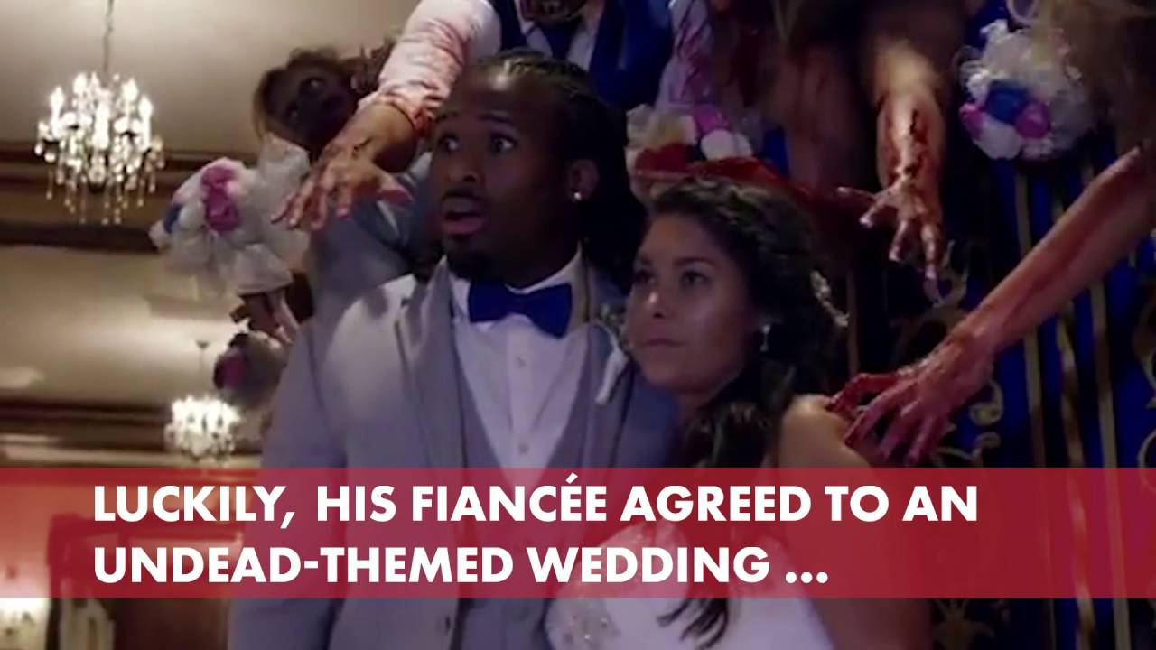 Deangelo Williams Zombie Wedding Was Gruesomely Epic Youtube