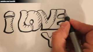 How to draw i love you in graffiti