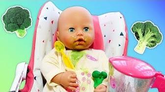 Tyttöjen lelut ja nuket. Annabelle-vauva on syömässä! Leikkivideo pienille tytöille.