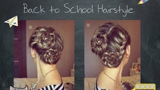 Простая прическа с цветами из кос на 1 сентября ♡ Back to School Hairstyle(В этом видео я очень подробно расскажу и покажу Вам, как сделать прическу на основе двух французских кос...., 2015-08-29T09:47:05.000Z)