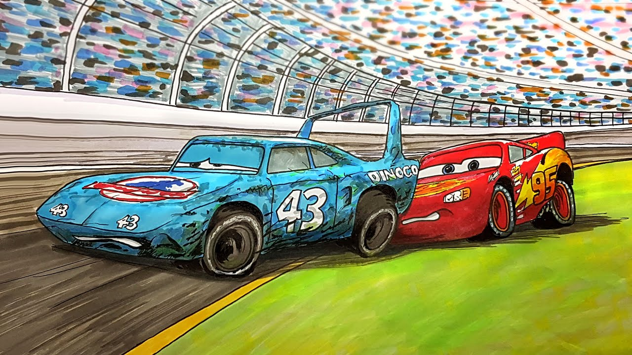 CARS Lightning McQueen Helps The King . Drawing and Coloring Pages   Tim Tim TV