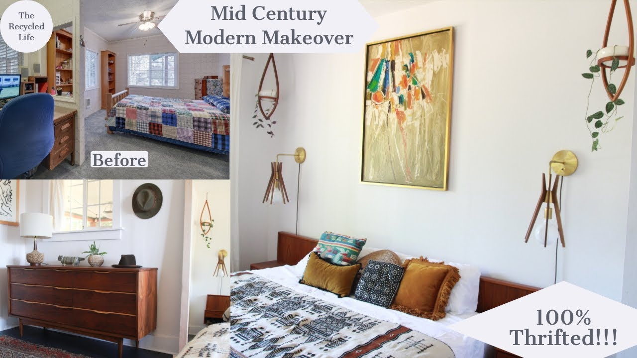 Mid Century Modern Bedroom Makeover Thrifted Style Bohemian Modern The Recycled Life Youtube