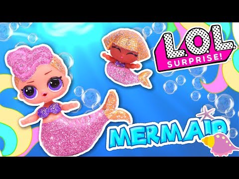 DIY GLITTER MERMAID🧜‍♀️ LOL Surprise Dolls and LIL SISTER Glitter MAKEOVER - Toy Transformations