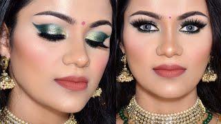 त्यौहार पर मेकअप कैसे करें Easy Green Eyeshadow INDIAN FESTIVE MAKEUP TUTORIAL