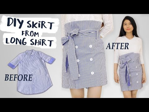 DIY Turn Old Long Shirt Into a Skirt | Paper Skirt | Easy for Beginner | Clothes Transformation