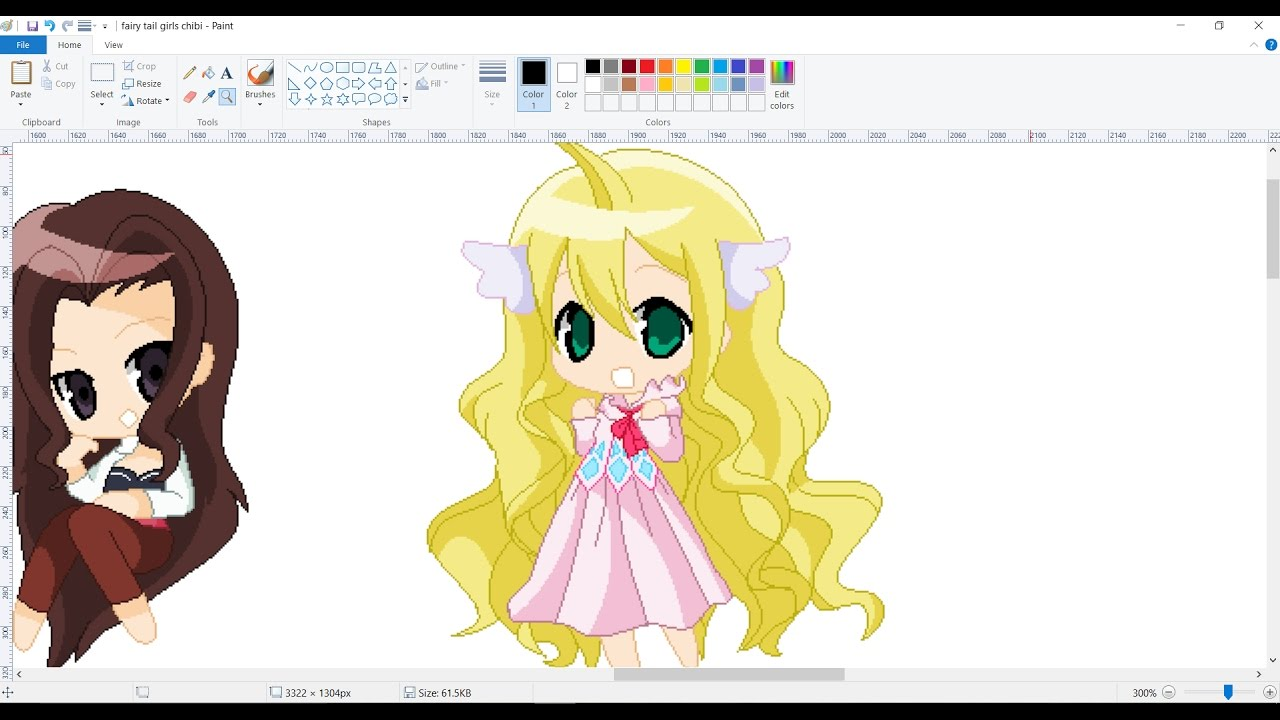 Fairy tail girls pixel chibi speedpaint youtube