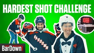 ATTEMPTING TO BREAK ZDENO CHARA'S SLAPSHOT RECORD | BARDOWN CHALLENGE VOL  2