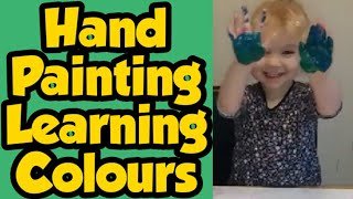 Learning colours - paint experiments - creative play - colour mixing- painting with pre schooler
