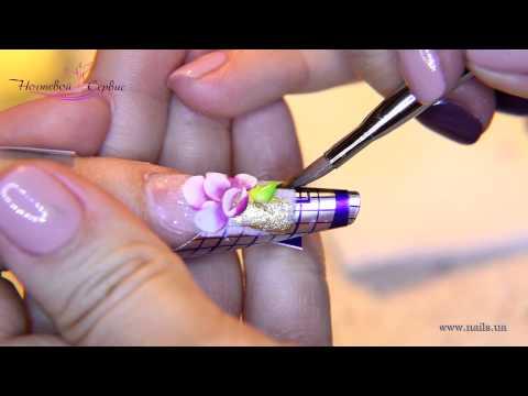 Наращивание ногтей в стиле Аквариум. Дизайн - Цветущий сад.