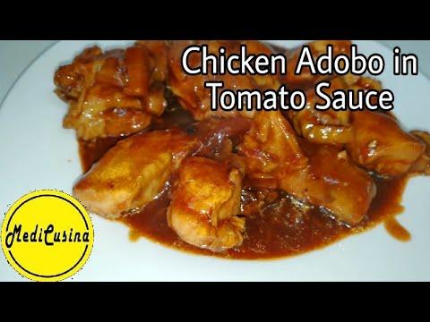 Chicken Adobo In Tomato Sauce   Adobong Manok   MediCusina Lutong OFW Recipe