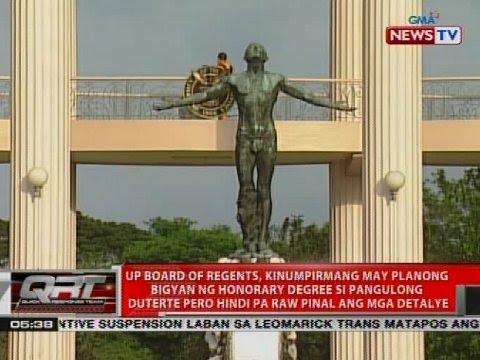 UP Board of Regents, kinumpirmang may planong bigyan ng honorary degree si Pres. Duterte