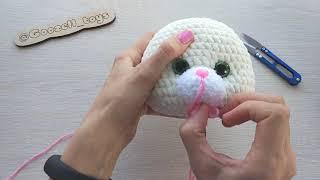 Как сделать утяжку мордочки под носиком. Уроки вязания Амигуруми крючком