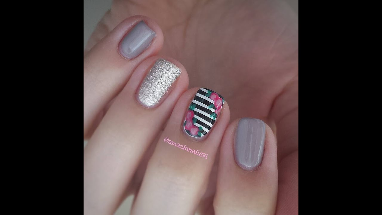 Dark togepi pictures to pin on pinterest pinsdaddy - Nail Art Tutorial Taupe Stripes Glitter And Roses Tortora Nail Art Tutorial Taupe Stripes Glitter And