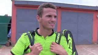 Ondřej Krstev po výhře v 1. kole na turnaji Futures v Ústí n. O.