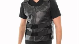 B263 Xelement Men's Bulletproof Style Leather Vest at LeatherUp.com