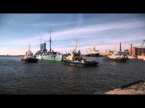 Cruiser Aurora arrives to Kronstadt