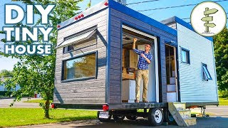 Beautiful Diy Tiny House Build With Massive Custom Patio Door - Full Tour