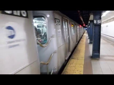 BMT Broadway Line: R160B Alstom Q Trains at 8th St-NYU (Weekend)
