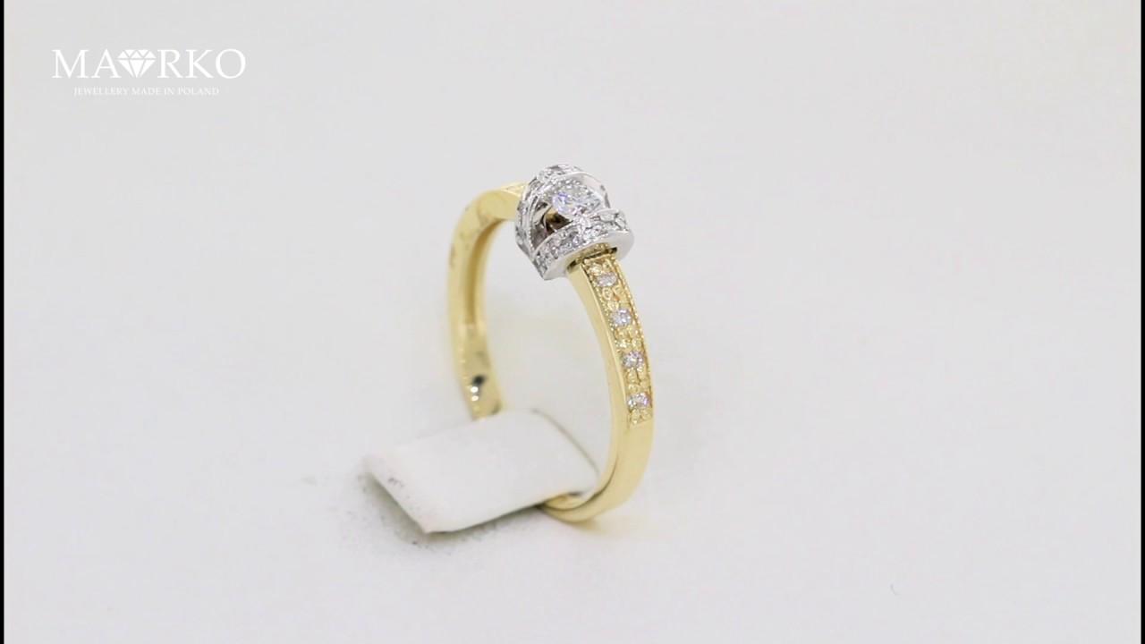 Pierścionek Zaręczynowy Białe żółte żółte Złoto Brylanty 025ct W162