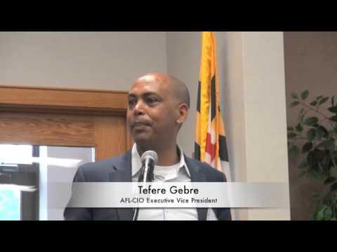 Tefere Gebre AFL-CIO Executive V.P.  At 2015 National COSH Convention