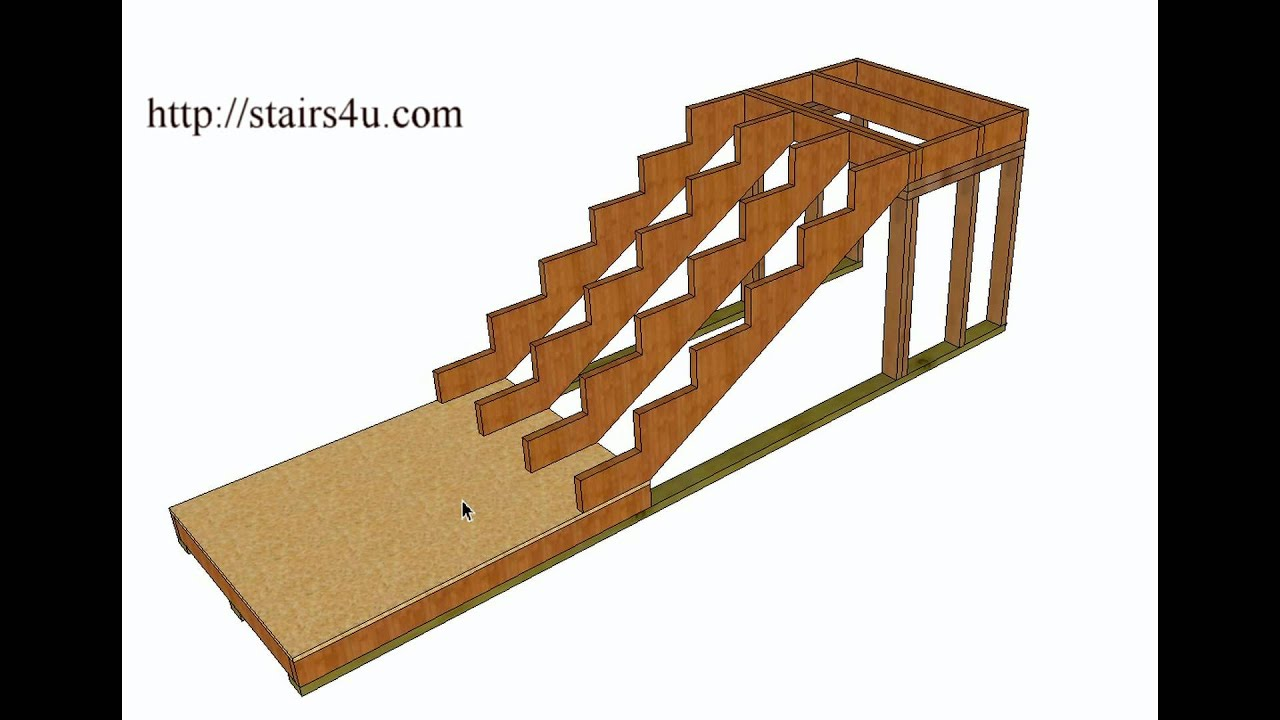 How To Build And Frame Stairs With Landings \u2013 Example 1 - YouTube