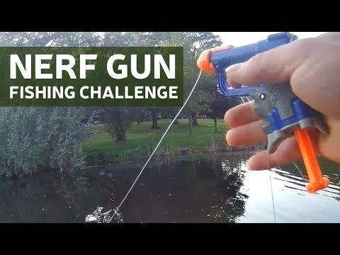 NERF GUN FISHING CHALLENGE WITH MY KIDS!