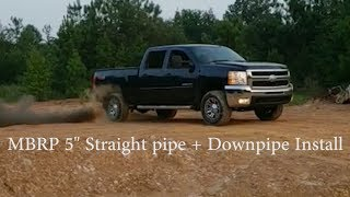 """LMM Duramax MBRP 5"""" downpipe back straight pipe install *PPEI EFI Live"""