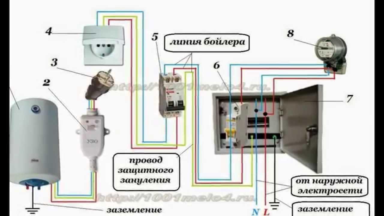 схема подключения водонагревателя схема