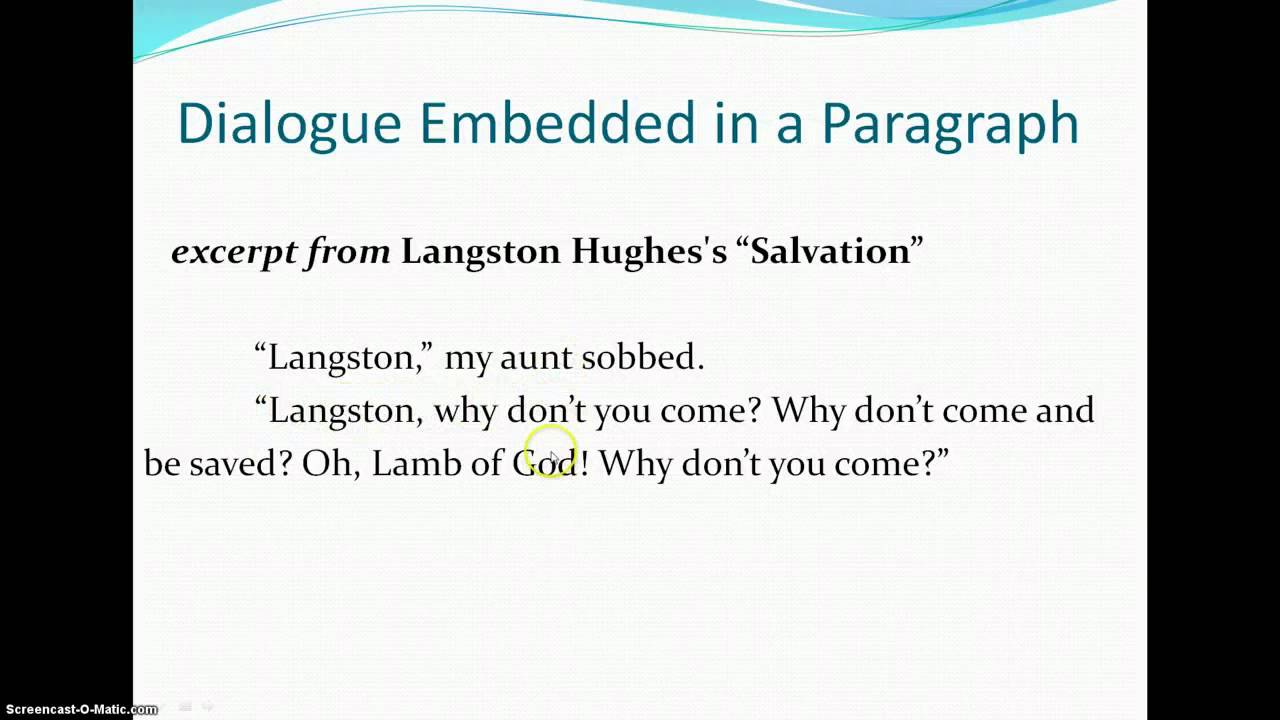 Embedding Dialogue in Your Narrative Essay