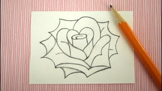 How to Draw a Rose - Easy Drawing Lesson for Kids and Beginners