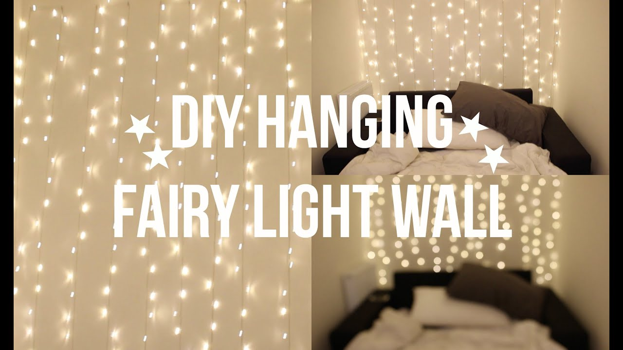 DIY FAIRY LIGHT WALL YouTube - Cheap bedroom fairy lights