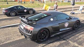 Audi R8 V10 Plus Sport Performance Parts - REVS & DRAG RACE!