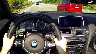 BMW M6 Cabrio Onboard POV Acceleration V8 Sound 270 km/h + OPEN ROOF F12 Autobahn