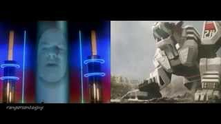 Mighty Morphin White Tiger Zord First Appearance Split Screen (PR and Sentai version)