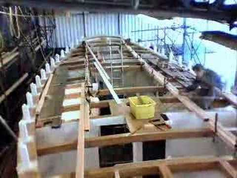 Laying The Deck On A Traditional Wooden Boat