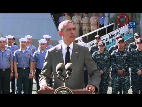 Obama Aboard Philippine Ship - Full Speech In Manila Harbor