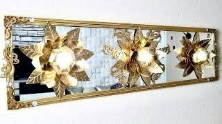 Diy 3D Gold Leaf Lighting on Mirror| Simple and Inexpensive Mirror Decor!