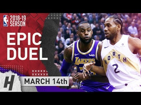 LeBron James vs Kawhi Leonard EPIC DUEL Highlights Lakers vs Raptors 2019.03.14 - 29 for LeBron!
