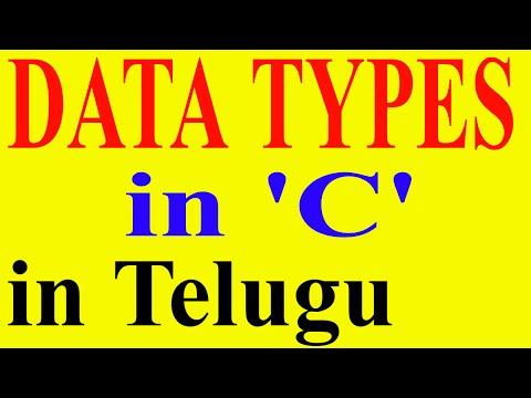 Data Types In C Language In Telugu